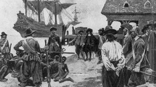 Drawing depiction of the landing of enslaved Africans in Jamestown, Virginia.