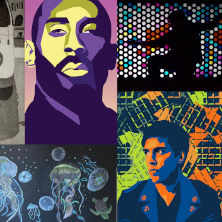 Collage of seven paintings. Top row from left to right: a bus, Kobe Bryant, a silhouette, and a woman. Bottom row: jellyfish, a man, and a record disk.