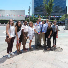 High school students standing outside of the U.N.