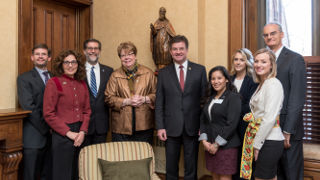 Professor Courtney Smith, Intern Provost Karen Boroff, Dean Andrea Bartoli, Interim President Mary Meehan, Miroslav Lajčák, president of the 72nd Session of the United Nations General Assembly and Professor Hugh Dugan with Diplomacy students.