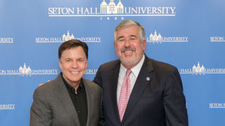 WSOU and Seton Hall University alumnus Bob Ley (right) with broadcaster and sports journalist Bob Costas during an appearance at Seton Hall on November 11, 2019. (Photo Credit: Seton Hall University)