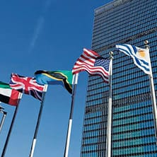 Flags at the United Nations Building
