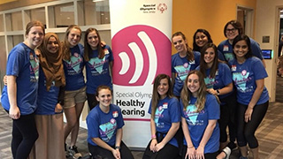 A group photo of Speech Language Pathology students volunteering at the Special Olympics.