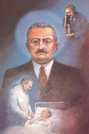 A drawing of Saint Giuseppe Moscati, looking into a microscope and taking care of the sick.