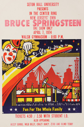 Bruce Springsteen Concert Flyer in the Walsh Gym from April 4, 1974.