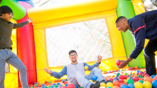 Students in a ball pit