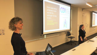 Veronique Dartois, left, presents at the IHS IPE Research Seminar Series on Jan. 24.