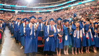 Graduates of the Class of 2018 in the Prudential Center.