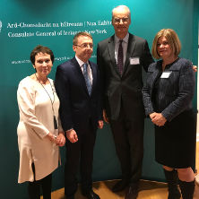 Ciaran Madden, Consul General of Ireland in New York, congratulates Deirdre Donohue Yates, Hugh Dugan and Phyllis Shanley Hansell on their induction into the Irish Education 100.