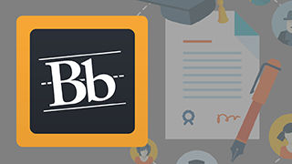 "Blackboard program image containing the Blackboard logo an uppercase and a lowercase letter ""B"" next to a graphic of a clipboard and a pencil on a table."